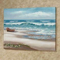 Beach Canvas Paintings, Seascape Paintings, Landscape Paintings, Canvas Wall Art, Beach Canvas Art, Diy Canvas, Tiger Painting, Ocean Scenes, Beach Scenes