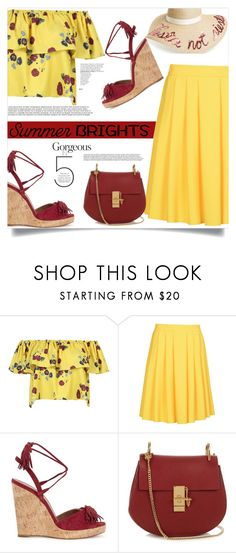 """#summebrights #contestentry"" by lisamichele-cdxci ❤ liked on Polyvore featuring WithChic, 8, Aquazzura, Chloé, Eugenia Kim, contestentry and summerbrights"