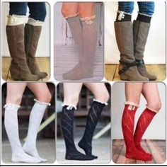 """⭐️1 DAY SALE!⭐️NWT Lace Trim Boot Socks NWT Lace Trim Boot Socks! Available in 5 colors:  Red, Black, Cream, Heather Gray and Chocolate Brown. Each color has a beige vintage inspired crochet lace trim, with 2 beige accent buttons. Stretchy open knit over the knee boot socks that stretch to a total length of 24"""". One size fits most. No Trades and No Paypal Accessories Hosiery & Socks"""