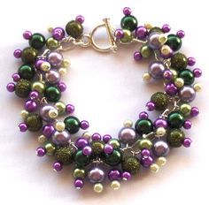 Green and Purple Glass Pearl Bracelet