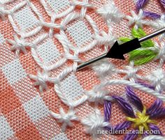 2 of 2 Full Chicken Scratch / Gingham Embroidery Tutorial. See page for detailed tutorial by Mary Corbet of Needle 'n Thread Blog.