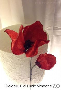 Poppy, wafer paper flower
