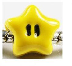 Berloque Europeu Banhado em Prata Estrela Super Mario Bros