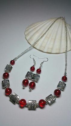 Red Glass Beaded Costume Jewellery Set  Silver door KlaassyArts