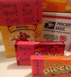 "Valentine's Day theme care package- I'm going to use the bear saying... Sending you a great big hear hug! (I used the ""beary"" expressions for candy and treats and sent them to my niece who's away in college. ~Joy)"