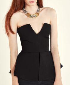 Black Peplum Bodysuit