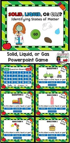Keep science exciting with this fun Teacher vs. Student powerpoint game. In this game, students must determine whether an object is a solid, liquid, or gas. Great for a science center or rainy day activity.