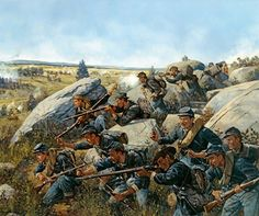 American Civil War Paintings - The New York on Little Round Top Gettysburg, July Rocco Confederate States Of America, America Civil War, Military Art, Military History, Us History, American History, American War, Gettysburg National Military Park, Gettysburg Battlefield