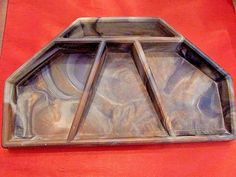 """Vintage Incolay Stone Hand Crafted Four Compartment Valet Desk Organizer USA 13"""""""