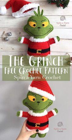 "The Grinch Free Crochet Pattern - ""flat"" doll Crochet Crafts, Cute Crochet, Beautiful Crochet, Crochet Dolls, Crochet Yarn, Crochet Ideas, Crochet Projects, Craft Projects, Free Crochet Pattern Animals"