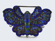 Stunning Chinese export silver and enamel butterfly pendant.