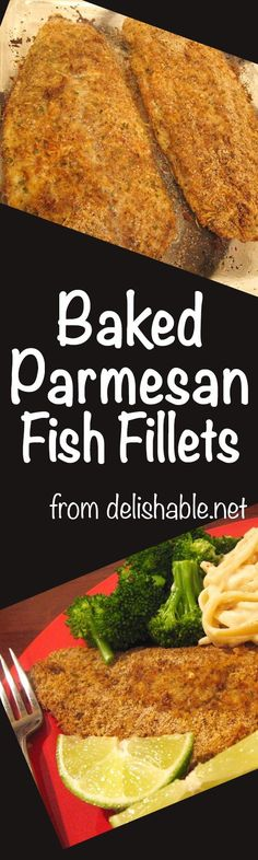 Baked Parmesan Fish Fillets recipe - easy to prepare, low calorie, low fat and low carb. Turn inexpensive fish into a lovely and delicious meal!  delishable.net