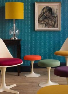 marfair: Love the color combination , especially the yellow lamp and the teal wallpaper.  Thanks ...