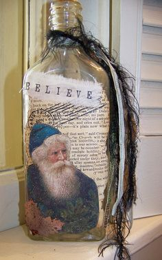 Vintage Altered Glass Apothecary Bottle