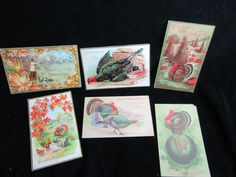 Lot Of 6 Vintage Thanksgiving Post Cards 1900's Early Postcards