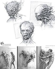 Concept Art Horror Artworks Ideas For 2019 Monster Concept Art, Monster Art, Creature Concept Art, Creature Design, Necronomicon Lovecraft, Cthulhu, Apocalypse Art, Horror Artwork, Zombie Art