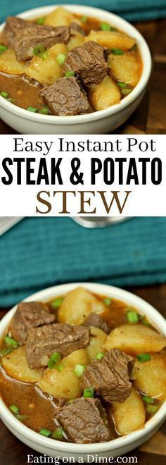Instant pot Steak and Potatoes Beef Stew recipe is so quick and easy. This Beef stew with potatoes is so tender. Try this easy Steak and Potatoes stew. #eatingonadime #instantpot #steak #potatoes #dinner #dinnerrecipes #recipe #recipes