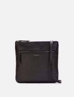 DKNY Heavy Nappa Leather Flat Crossbody. #dkny #bags #shoulder bags #leather #lining #crossbody #cotton #