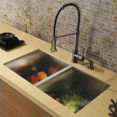 Vigo Platinum Collection Undermount Stainless Steel Kitchen Sink, Faucet and Dispenser