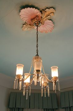 LOVE the ceiling medallion! ... Can do something similar with real shells or with large wood shells