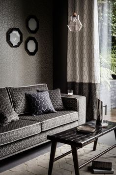 Wedgwood Home vol 2, Arris fabrics and wallcoverings have an art deco, metallic feel with geometric patterns.