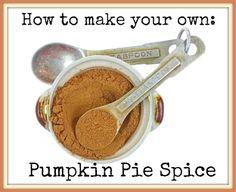 A small ceramic dish filled with pumpkin pie spice with measuring spoons.