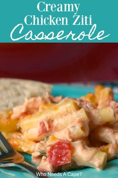 Creamy Chicken Ziti Casserole - Who Needs A Cape? Fancy Dinner Recipes, Dinner Dishes, Pasta Dishes, Dinner Table, Main Dishes, Pasta Sauce Recipes, Chicken Recipes, Pasta Sauces, Noodle Recipes