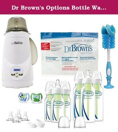 Dr Brown's Options Bottle Warmer Gift Set. This suite of Dr. Brown's products is headlined by the Electric Bottle Warmer and comes bundled with a variety of baby bottles, nipples, and pacifiers that can all be used to make your little one fed and happy. Bottle warmer is easily cleaned and features an electric steam warming system. Each sterilizer bag has 20 uses. Pacifiers help prevent dental issues. Bottles and nipples designed to suit your baby's needs.