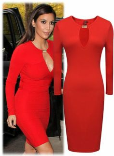 Miusol Keyhole With Metal buckle Open-Chest Bodycon Pencil Party Dress,Red,Medium/US Size 8 Party Dresses Canada, Kim Kardashian Red Dress, Red Media, Ladies Party, Metal Buckles, Size 16, Fashion Brands, Celebrity Style