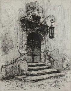 Frank Milton Armington (1876-1941) - Portal in Rathaushof, Rothenbourg, 1909