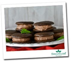 Mint Chocolate Whoopie Pies  Sugar-Free Apricot Granita Filling  1 cup raw cashews, soaked at least 4 hours  6 dates, soaked at least 4 hours  1/2 cup date soaking water  1/2 cup light coconut milk  1/2 cup unsweetened cocoa powder  1 teaspoon vanilla extract  1 teaspoon Peppermint Sweet Drops  Pinch of salt  2 tablespoons coconut oil, melted and cooled  Cakes  3 eggs  3 tablespoons SugarLeaf  1/4 cup almond meal  2 tablespoons coconut flour  1/4 cup unsweetened cocoa powder