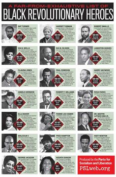 (Black History) -- A Far-from-Exhaustive-List Black Revolutionary Heroes Art Afro, By Any Means Necessary, Art Africain, Black History Facts, Black History Books, African American History, American Women, African American Inventors, American Art