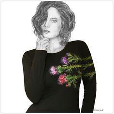 Maľované čierne tričko Bodliaky – miu.sk Graphic Sweatshirt, T Shirt, Sweatshirts, Sweaters, Fashion, Supreme T Shirt, Moda, Tee Shirt, Fashion Styles