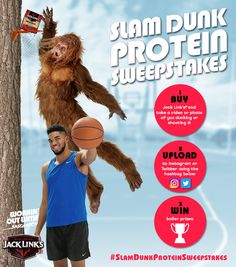 Check out the Jack Link's Slam Dunk Protein sweepstakes for a chance to win some baller prizes. Let's see your rim rattlin' protein dunk.   #SLAMDUNKPROTEINSWEEPSTAKES