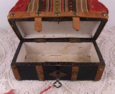 Very Rare Antique All Original French Sac Du Voyage circa 1875-80. Original red and striped canvas on the top, leather cover and brass stud trim, with working lock, original key, brass frame, braided-leather handles, lined with fine thin linen, by Karaanna's Passion on Ruby Lane - SOLD $1,250 USD