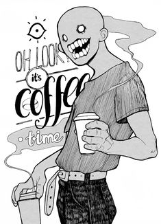 Coffee time T-shirt by svnddlsnts Art Reference Poses, Art Sketchbook, Hippie Art, Shadow Art, Cute Art, Dark Art Drawings, Creepy Art, Dark Art Illustrations, Aesthetic Art