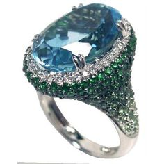 Blue Topaz, Green Garnet and Diamond Ring from Artis Jewellery Co., Limited