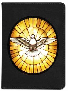 """(RSV - 5"""" W x 6.5"""" H x 1.25"""" D, Black) This stunning Catholic bible is designed with a genuine leather cover and a devotional image of a wing spread white dove behind light soaked stained glass. The dove is the symbol of the Holy Spirit and is beautifully illustrated. Makes for a fantastic Confirmation gift. Specifications Choose your Color Choose your Bible edition (RSV or NAB) Option to personalize. Three lines of text at the bottom of the front cover. (additional fee) Leathe..."""