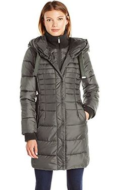 French Connection Women's Oversized Hooded Down Coat, Gunmetal, L ❤ French Connection Women's Outerwear