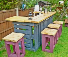 Necessary outdoor bar made from old pallets and scrap timber. Finish bar top with yacht oil for that bar top shine!