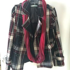 1/14 HP! Double Breasted Coat Love this coat! I'd keep it but it no longer fits. Black, dark red, gray and cream colors in a beautiful plaid print. Two front pockets, buckle detail on sleeve and shoulders. Lined. Great condition!! Thanks to @roxyjane for choosing this as a Work Week Chic HP!! ❗️FINAL PRICE❗️ Maurices Jackets & Coats