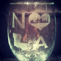 #Handmade #NOLA wine glass with the New Orleans skyline in the middle of a heart. Perfect for anyone who loves New Orleans. Etching is permanent and glass is top rack dishwas... #etsy #etsygifts #aftcra #handmade #nola #louisiana #gift #personalized #saints #love #beer #superdome