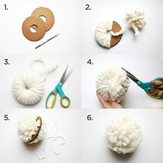 ▷ 1001 + Ideas for pompoms are made for borrowing- ▷ 1001 + Ideen für Pompons basteln zum Entlehnen The general six steps of making pompoms make a white pompon - Pom Pom Crafts, Yarn Crafts, Diy Crafts, Pom Pom Diy, Sheep Crafts, Easy Craft Projects, Crafts For Kids, Diy Christmas Garland, 242