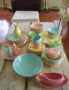 Mix and match pastel dishes are so pretty and make for an original charming table for all to enjoy