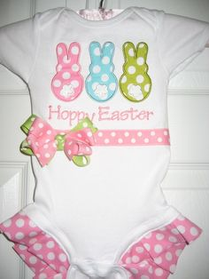 Easter Bunny Trio one piece with Ruffles by PolkaDotCloset on Etsy, $20.00
