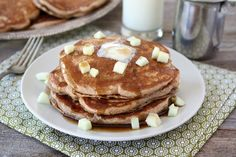 Whole Wheat Apple Cinnamon Pancakes with Cinnamon Syrup #Recipe