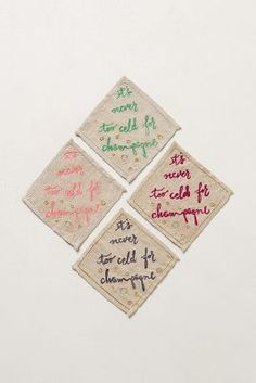 "love these cocktail napkins! ""it's never too cold for champagne!"" // #hostess #gift"