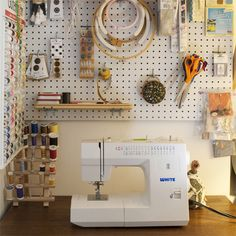 Are you sick of your littered living room, overcrowded cabinet, or too-cramped-for-comfort closet? Cure clutter around the home with one of these 23 unexpectedly smart and stylish DIY ideas! Sewing Closet, Sewing Room Storage, My Sewing Room, Sewing Rooms, Craft Storage, Small Sewing Space, Sewing Spaces, Small Spaces, Sewing Station