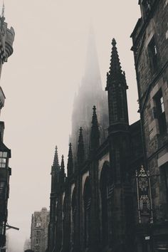 Monochromatic gothic cathedrals line the history streets of Edinburgh A Darker Shade Of Magic, Slytherin Aesthetic, Photocollage, The Infernal Devices, Gothic Architecture, Cathedral Architecture, Oeuvre D'art, Aesthetic Pictures, Draco Malfoy
