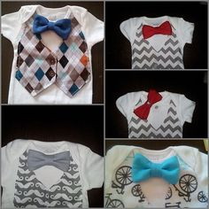 Baby Boy Onesie with faux vest and bowtie